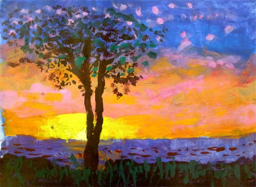 Ocean sunset with tree
